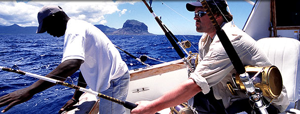 A Black Marlin being caught off the coast of Mauritius